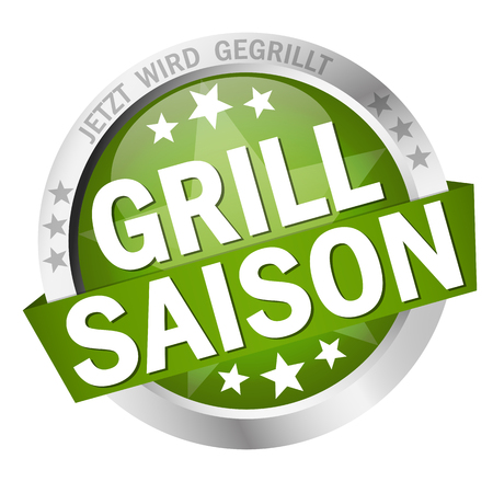 round colored button with banner and text Grillsaison Standard-Bild - 117797391