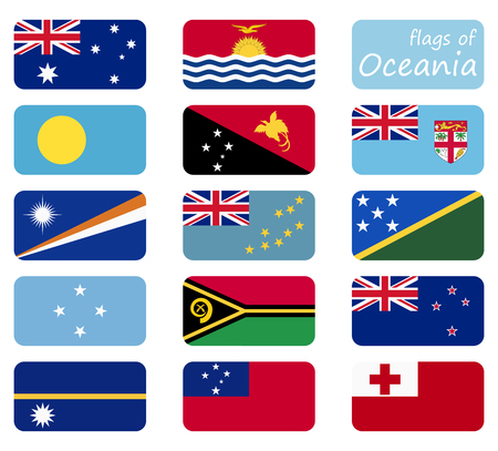collection of flags from all national countries of Oceania and Australia Illustration