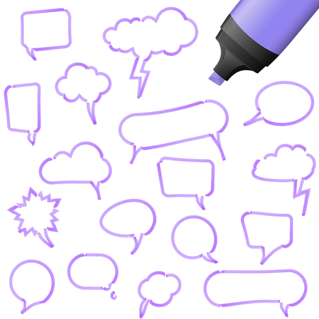 illustration of speech bubbles drawn with highlighter colored purple