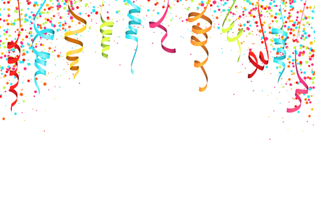 vector illustration of colored confetti and streamers on white background for party or carnival usage