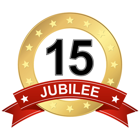 round jubilee button with red banner for marketing use for 15 years Standard-Bild - 124896612
