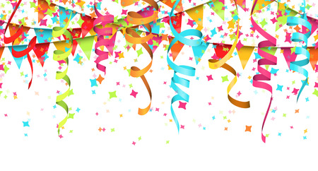 vector illustration of seamless colored confetti, garlands and streamers on white background for party or carnival usage