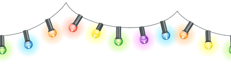 vector illustration of seamless light bulbs string with different colors isolated on white background