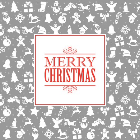 merry christmas greetings on background consists of typical christmas icons Standard-Bild - 117797394
