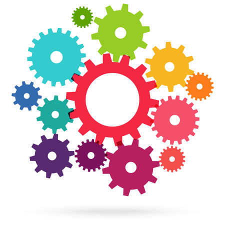 illustration of colored gears symbolizing cooperation or teamwork process