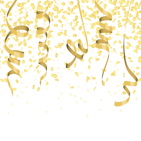 vector illustration of seamless golden colored confetti and streamers for carneval or party time on white background Imagens - 124896617