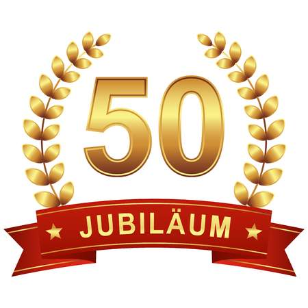 Jubilee button with banner for 50 years (text in german)