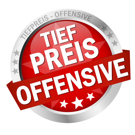 round colored button with banner and text Tiefpreisoffensive