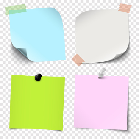 illustration of an collection of different sticky papers with pin needle or adhesive stripes office accessories with transparency effect in vector file Standard-Bild - 121237135