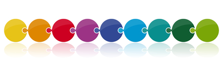 vector illustration of bubble puzzle parts in a row with different colors for team work concepts