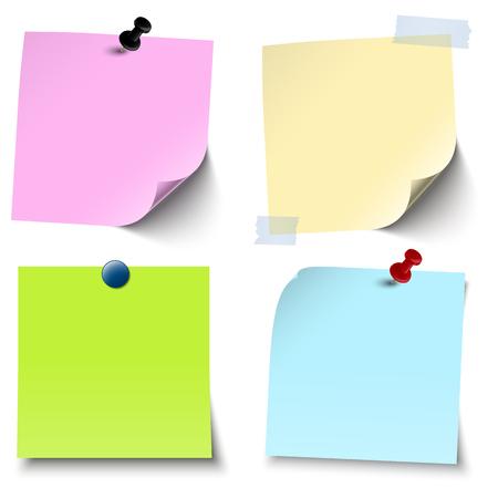 Ilustración vectorial de una colección de diferentes papeles adhesivos con agujas de alfiler o accesorios de oficina con rayas adhesivas