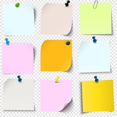 illustration of an collection of different sticky papers with pin needle or adhesive stripes office accessories with transparency effect in vector file