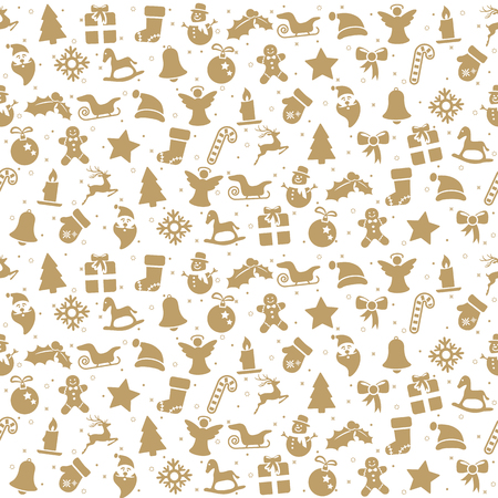 seamless christmas background colored brown consists of typical christmas icons like santa claus, candle, snowfalke, tree, gingerbread man, stars Standard-Bild - 118026889