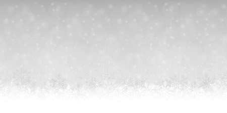 seamless snow flakes on bottom side, abstract fall of snow and silver colored background