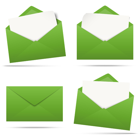 vector illustration with green colored envelopes with white empty paper isolated on white background Standard-Bild - 118026890