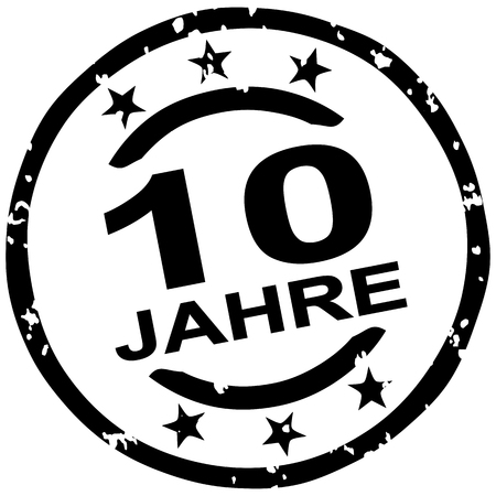 round grunge stamp for 10 years jubilee marketing (text in german)