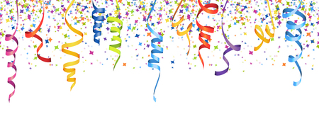 vector illustration of seamless multi colored confetti and streamers for carneval or party time on white background Ilustração