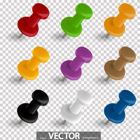 collection of nine pin needles in different colors with vector transparency