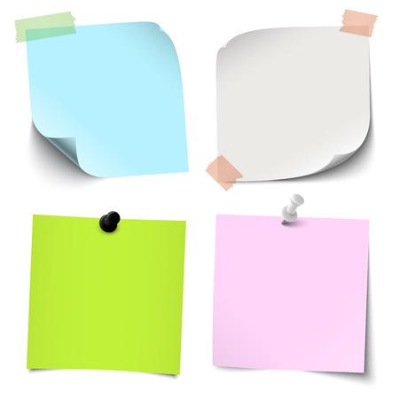 Vektorgrafik einer Sammlung verschiedener klebriger Papiere mit Nadel- oder Klebestreifen-Bürozubehör