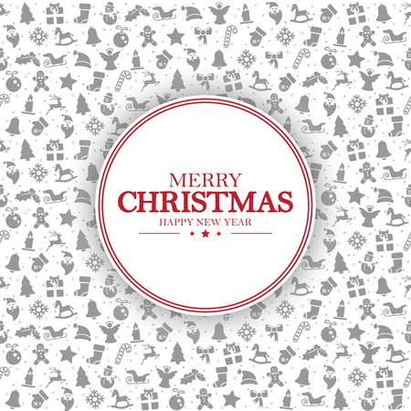 merry christmas and happy new year greetings on background consists of typical christmas icons