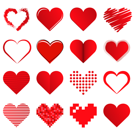 collection of different beautiful hearts for valentine love time or mothers day Standard-Bild - 121237145