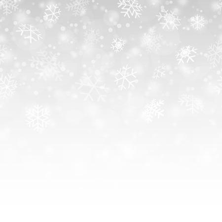 caída perfecta de copos de nieve y fondo de color plateado Ilustración de vector