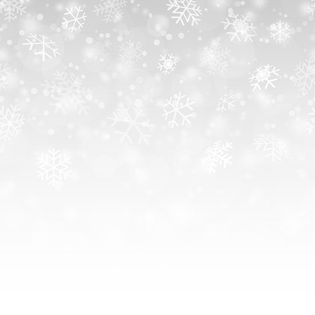 chute transparente de flocons de neige et fond de couleur argent Vecteurs