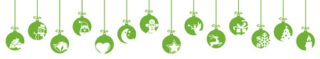 collection of hanging baubles colored green with different abstract icons for christmas and winter time concepts