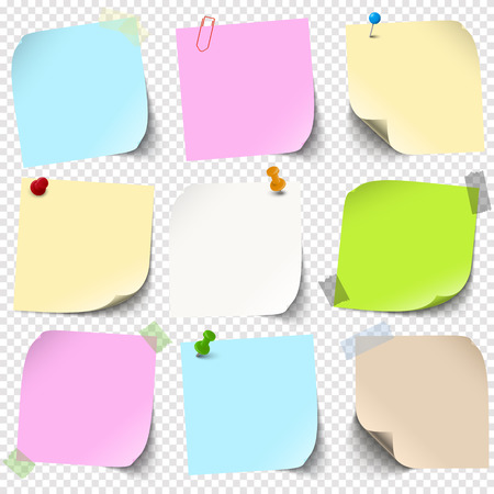 illustration of an collection of different sticky papers with pin needle or adhesive stripes office accessories with transparency effect in vector file Standard-Bild - 121237147