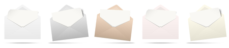 vector illustration with different colored envelopes with white empty paper isolated on white background Illustration