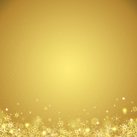 vector file with beautiful falling snow flakes colored golden and lightning effects on golden colored background Ilustração