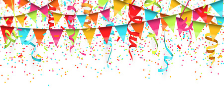 vector illustration of seamless colored confetti, garlands and streamers on white background for party or carnival usage Standard-Bild - 119021286