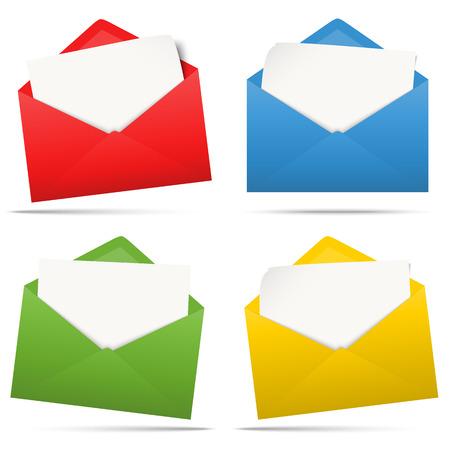 Vektorillustration mit verschiedenfarbigen Umschlägen mit weißem leerem Papier lokalisiert auf weißem Hintergrund