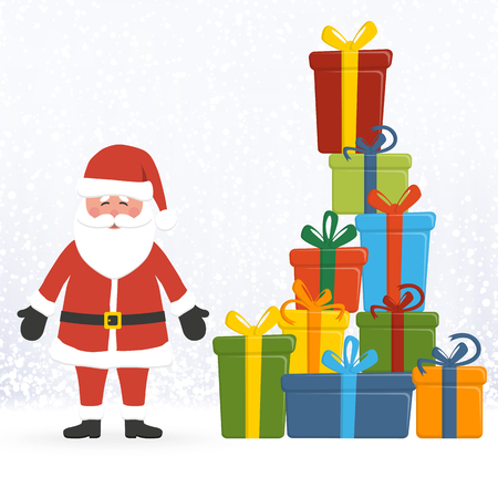 Santa Claus concept with colored gifts and blue snow fall background for christmas time greetings