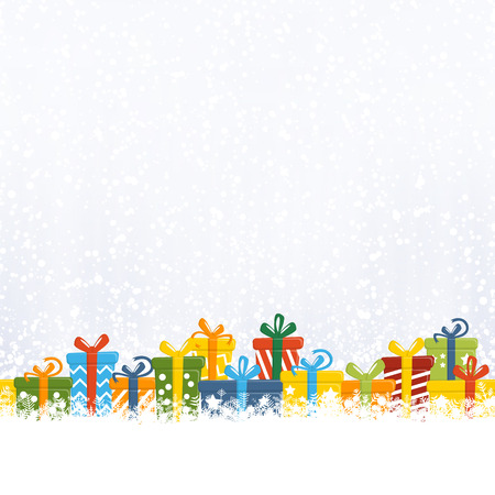 vector illustration of colored christmas presents in front of snow fall background