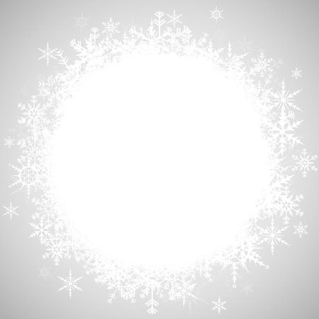 white snowflakes with empty white center part for christmas winter greetings on silver background
