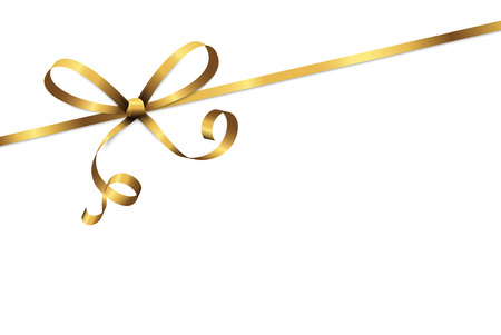 EPS 10 vector illustration of golden colored ribbon bow isolated on white background Фото со стока - 124254997