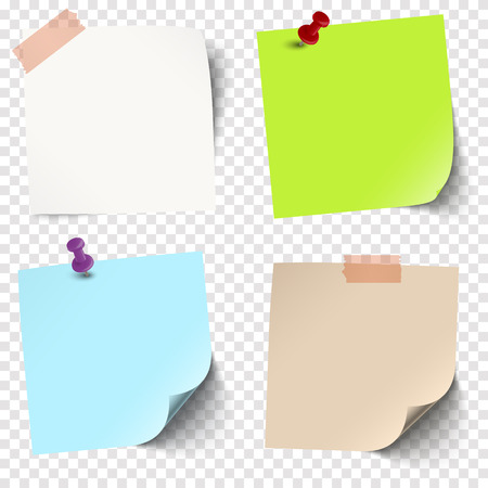 illustration of an collection of different sticky papers with pin needle or adhesive stripes office accessories with transparency effect in vector file Standard-Bild - 121237153