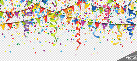 illustration of seamless colored confetti, garlands and streamers background for party or carnival usage with transparency in vector file Standard-Bild - 119463505