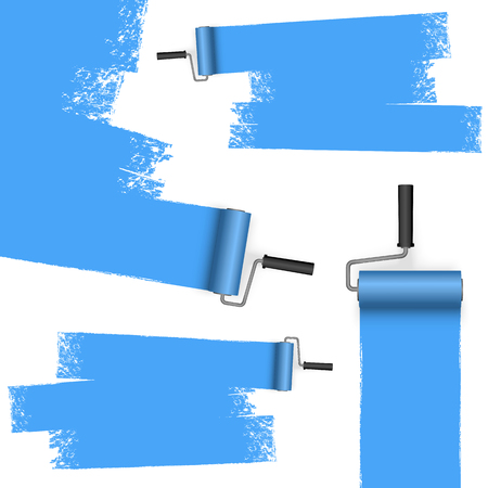 EPS 10 vector illustration isolated on white background with paint rollers and painted markings colored blue Standard-Bild - 119463506