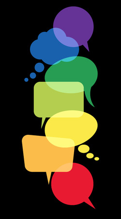 illustration of colored speech bubbles in a row with space for text on black background