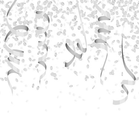 vector illustration of seamless silver colored confetti and streamers for carneval or party time on white background Ilustrace