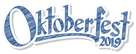 blue and white header with scribble pattern and text Oktoberfest 2019 Illustration