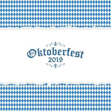 Oktoberfest background with ripped open paper having blue-white checkered pattern and text Oktoberfest 2019 Standard-Bild - 120162738