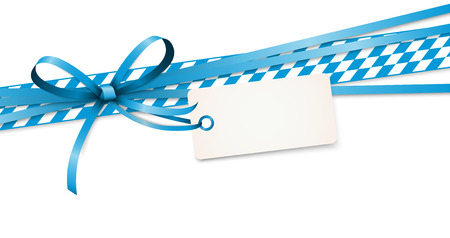 EPS 10 vector illustration of blue colored ribbon bow with hang tag and free text space isolated on white background for German Oktoberfest time Standard-Bild - 120162740