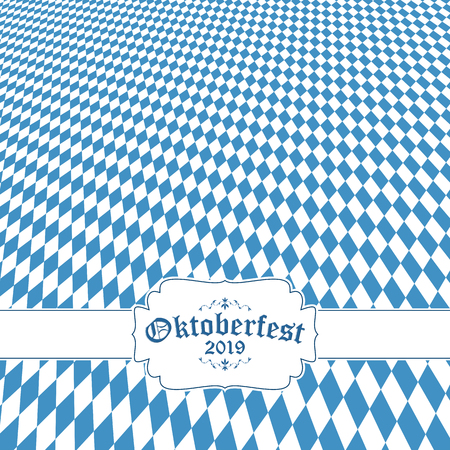 Oktoberfest background with blue-white checkered pattern, banner and text Oktoberfest 2019 (in german) Ilustração