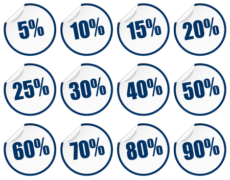 Discount sticker set blue Standard-Bild - 121237196