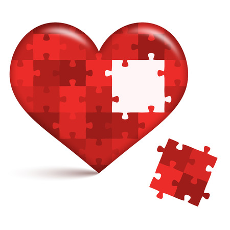 Heart Puzzle with open place Standard-Bild - 121237231