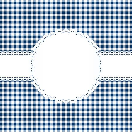 Banderole on blue checkered pattern Standard-Bild - 121237246