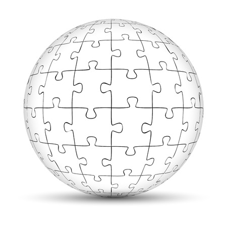 round puzzle ball with empty puzzle pieces Standard-Bild - 121237253